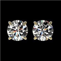 1.55 CTW Certified H-SI/I Quality Diamond Solitaire Stud Earrings 10K Yellow Gold - REF-183H2A - 366