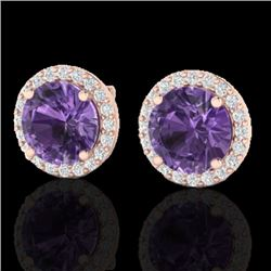 4 CTW Amethyst & Halo VS/SI Diamond Micro Pave Earrings Solitaire 14K Rose Gold - REF-53H3A - 21476