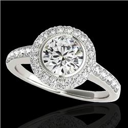 1.5 CTW H-SI/I Certified Diamond Solitaire Halo Ring 10K White Gold - REF-180Y2K - 34441