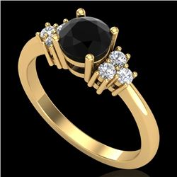 1 CTW Fancy Black Diamond Solitaire Engagement Classic Ring 18K Yellow Gold - REF-80A2X - 37592