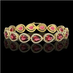 19.7 CTW Tourmaline & Diamond Halo Bracelet 10K Yellow Gold - REF-391Y5K - 41254
