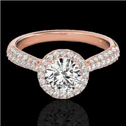 1.4 CTW H-SI/I Certified Diamond Solitaire Halo Ring 10K Rose Gold - REF-170N4Y - 33299