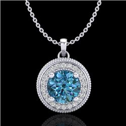 1.25 CTW Fancy Intense Blue Diamond Solitaire Art Deco Necklace 18K White Gold - REF-132W8F - 38020