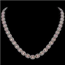 31.96 CTW Morganite & Diamond Halo Necklace 10K White Gold - REF-604N2Y - 40412