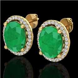 6 CTW Emerald & Micro Pave VS/SI Diamond Earrings Halo 18K Yellow Gold - REF-101F6N - 21054