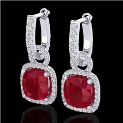 6 CTW Ruby & Micro Pave VS/SI Diamond Earrings 18K White Gold - REF-118A9X - 22968