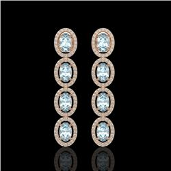 4.68 CTW Aquamarine & Diamond Halo Earrings 10K Rose Gold - REF-115F6N - 40527