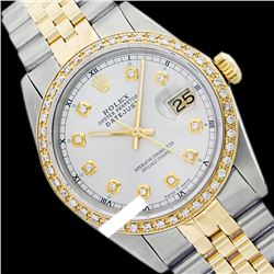 Rolex Ladies Two Tone 14K Gold/SS, Diamond Dial & Diamond Bezel, Sapphire Crystal - REF-434X6Y