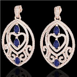 7 CTW Tanzanite & Micro Pave VS/SI Diamond Heart Earrings 14K Rose Gold - REF-381N8Y - 21162