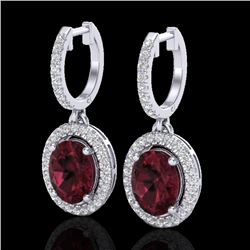 3.75 CTW Garnet & Micro Pave VS/SI Diamond Earrings Solitaire Halo 18K White Gold - REF-100H2A - 203