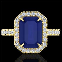 5.33 CTW Sapphire And Micro Pave VS/SI Diamond Halo Ring 18K Yellow Gold - REF-77X3T - 21435