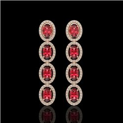 5.88 CTW Tourmaline & Diamond Halo Earrings 10K Rose Gold - REF-121N3Y - 40521