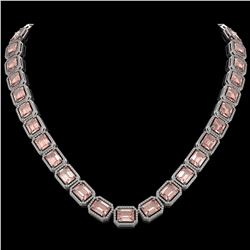 81.64 CTW Morganite & Diamond Halo Necklace 10K White Gold - REF-1728X2T - 41486