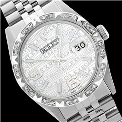 Rolex Men's Stainless Steel, QuickSet, Arabic Dial with Pyrimid Diam Bezel  - REF-509T6K