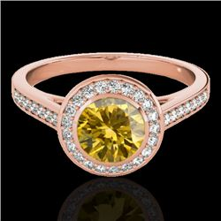 1.3 CTW Certified Si/I Fancy Intense Yellow Diamond Solitaire Halo Ring 10K Rose Gold - REF-168H4A -