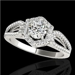 1.43 CTW H-SI/I Certified Diamond Solitaire Halo Ring 10K White Gold - REF-170T9M - 34016