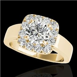 1.55 CTW H-SI/I Certified Diamond Solitaire Halo Ring 10K Yellow Gold - REF-174F5N - 34240