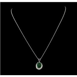 4.35 ctw Emerald and Diamond Pendant With Chain - 14KT White Gold