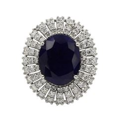 8.76 ctw Sapphire and Diamond Ring - 14KT White Gold