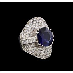 6.30 ctw Sapphire and Diamond Ring - 18KT White Gold