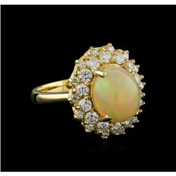 3.01 ctw Opal and Diamond Ring - 14KT Yellow Gold