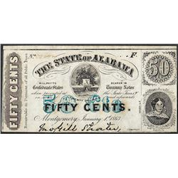 1863 Fifty Cents The State of Alabama Obsolete Note