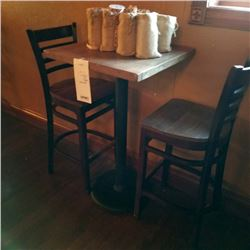 COMMERCIAL RUSTIC WALNUT WOODEN CAFE TABLE AND 2 LADDER BACK BAR STOOLS