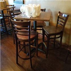 COMMERCIAL RUSTIC WALNUT 36 X 36 WOODEN CAFE TABLE AND 4 LADDER BACK BAR STOOLS