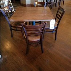 COMMERCIAL RUSTIC WALNUT 36 X 36 WOODEN TABLE AND 4 LADDER BACK CHAIRS