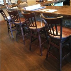 LOT OF X4 COMMERICAL WALNUT WOODEN LADDERBACK SWIVEL BARS STOOLS