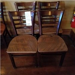 LOT OF X3 COMMERICAL WALNUT WOODEN LADDERBACK TABLE CHAIRS, 4TH CHAIR NEEDS REFINISHED