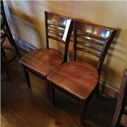 LOT OF X2 COMMERICAL WALNUT WOODEN LADDERBACK TABLE CHAIRS