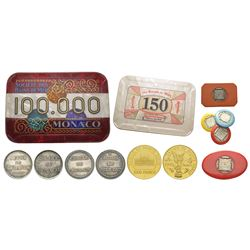 Monaco, Albert Ier 1889-1922 Lot de jetons du Casio de Monte Carlo -10 Jetons International Sporting