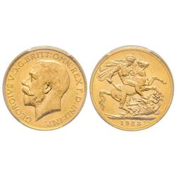 Australia, George V 1910-1936 Sovereign, Melbourne, 1923 M, AU 7.98 g. 917‰   Ref : Marsh 241 (R), F