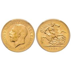 Australia, George V 1910-1936 Sovereign, Perth, 1930 P, AU 7.98 g. 917‰   Ref : Marsh 269 (R), Fr. 4
