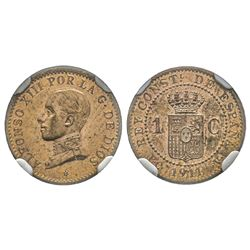 Spain, Alfonso XIII 1886-1931 1 centime, Madrid, 1911 (1) PCV, Cuivre  Ref : KM#732  Conservation :