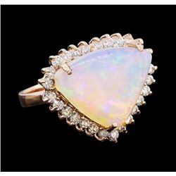 7.51 ctw Opal and Diamond Ring - 14KT Rose Gold