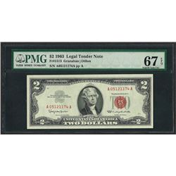 1963 $2 Legal Tender Note Fr.1513 PMG Superb Gem Uncirculated 67EPQ