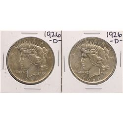 Lot of (2) 1926-D $1 Peace Silver Dollar Coins