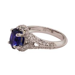2.84 ctw Sapphire and Diamond Ring - 18KT White Gold