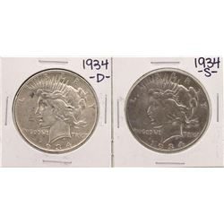 Lot of 1934-S & 1934-S $1 Peace Silver Dollar Coins