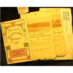 1913 Muscatine Iowa, Chautauqua Program Booklet, Leave it Here Calendar and Meter reading Cards for