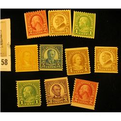 "(10) Rotary Coil Stamps 1923-29 #597/606. ""American Definitive Series"". All Mint."