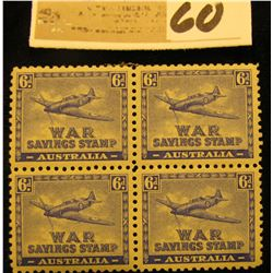 Block of Four Original Australia 6d XF OG NH War Savings Stamps. Seldom ever seen as a block of four