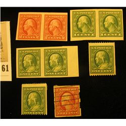(2) US Scott 348 Franklin singles unused hinged XF; Scott 383, 1c Franklin Imperf pair; Scott 408, 1