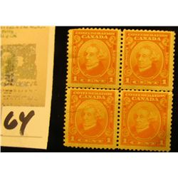 1938 Plate block of Four U.S. Stamp Scott # 832, $1 Wilson, Mint, Partial Gum.