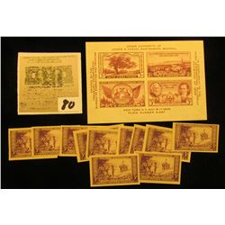 (11) Scott # 754 Imperf Mother's Day Three Cent Stamps, all Mint; & Scott #778 TIPEX Souvenir Sheet.