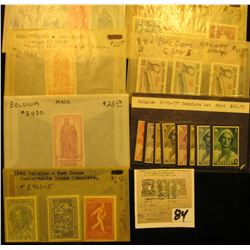 Group of high value Belgium Stamps, all mint, uncancelled. Includes Scott # B170-177, B304-06, B423-