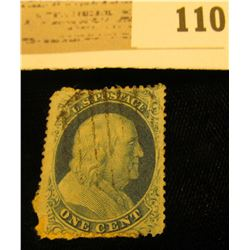 USA Scott #18 1857 Type 1 Blue Used. paper attacherd to back. Catalog $550. Please look at photos to