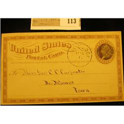 """Very Old May 1874 Postal card addressed to Des Moines and postmarked """"Fort Dodge""""."""